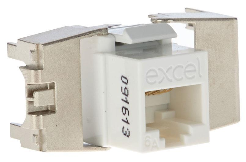 Excel Category 6A Low Profile UTP Keystone Jack Toolless - White