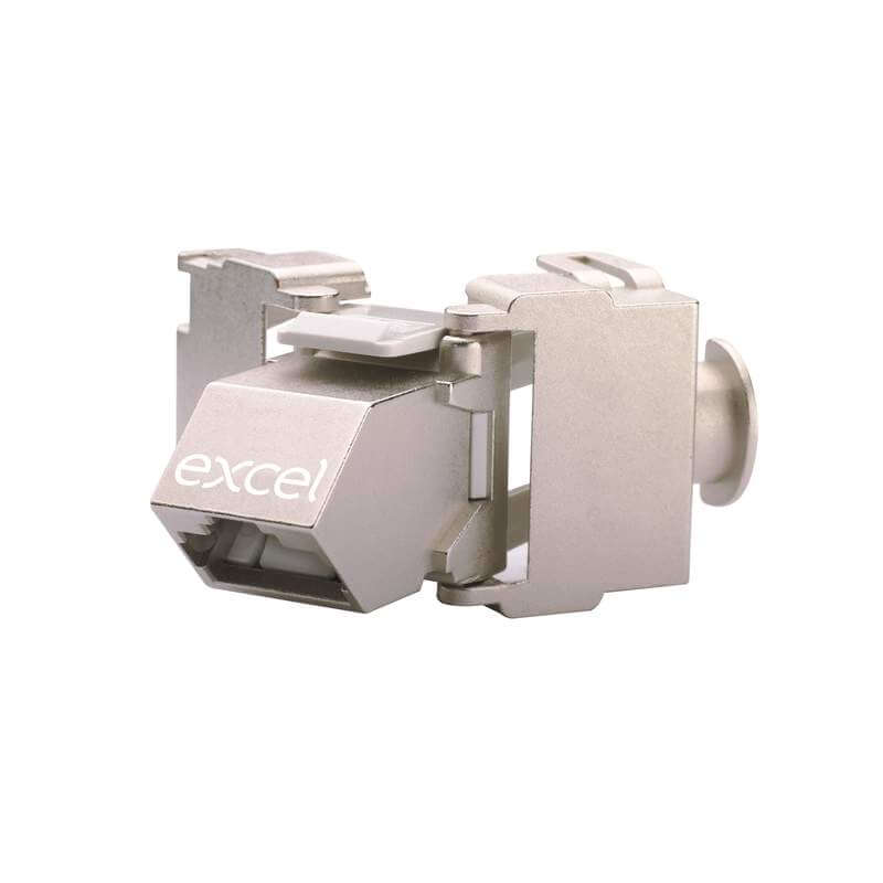 Excel Cat 6A Screened STP Angled Keystone Jack - Toolless