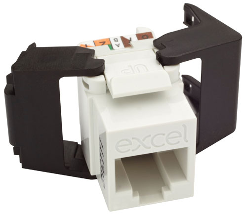 Excel Cat 6 UTP Butterfly Toolless Keystone Jack Low Prof White
