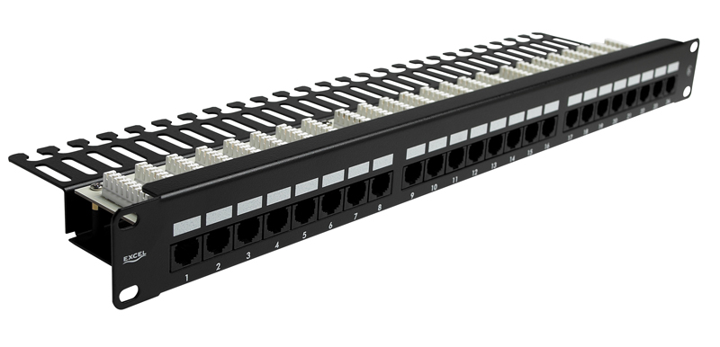 Excel Cat5e 48 Port Patch Panel Black Right Angle