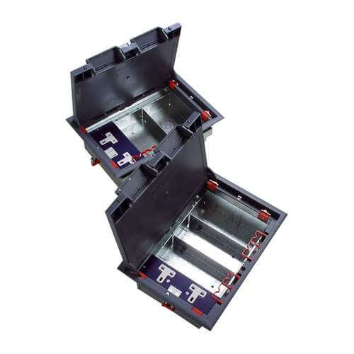Excel 3-Compartment Floor Box (including 1 Double Power Socket)