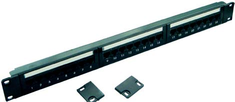Excel Plus Cat 6 Patch Panel, 24 port, 1U, Black